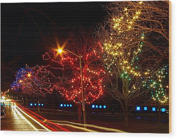City Park Lights Wood Print by Paul Wash