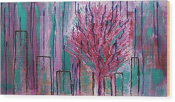 City Pear Tree Wood Print
