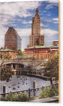 City - Providence Ri - The Skyline Wood Print by Mike Savad