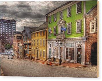 City - Providence Ri - Thomas Street Wood Print by Mike Savad