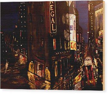 City Rain 2 Wood Print by Mark Moore