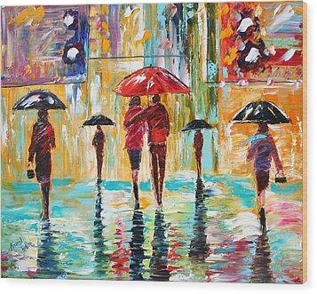 City Rain Wood Print by Karen Tarlton