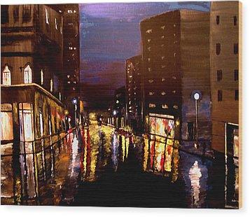 City Rain Wood Print by Mark Moore
