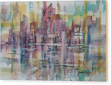 City Reflections Wood Print by Debbie Lewis