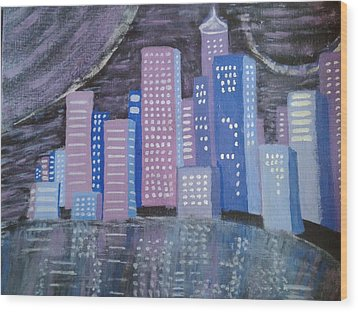 City Reflections Wood Print by Erica  Darknell