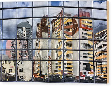 City Reflections Wood Print by Vladimir Kholostykh