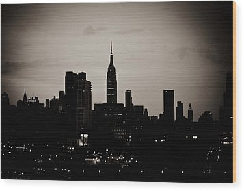 City Silhouette Wood Print by Sara Frank