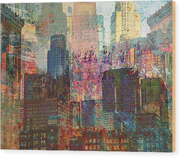 City Skyline Abstract Scene Wood Print by John Fish