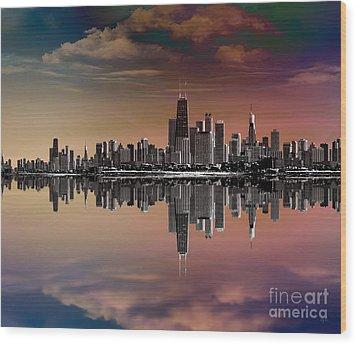 City Skyline Dusk Wood Print by Bedros Awak