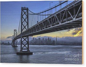 City Skyline Under The Bay Bridge Wood Print