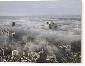 Wood Print featuring the photograph City Skyscrapers Above The Clouds by Ron Shoshani