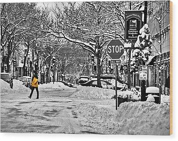 City Snowstorm Wood Print