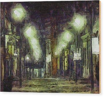 Wood Print featuring the drawing City Street by Joe Misrasi