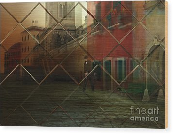 Wood Print featuring the digital art City Street by Liane Wright