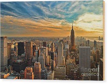 City Sunset New York City Usa Wood Print