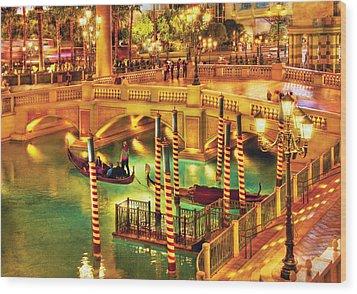 City - Vegas - Venetian - The Venetian At Night Wood Print by Mike Savad