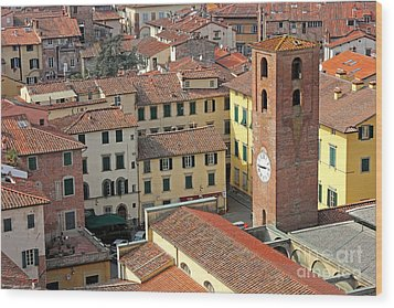 City View Of Lucca With The Clock Tower Wood Print by Kiril Stanchev
