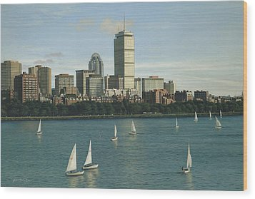 City View Sail Wood Print by Julia O'Malley-Keyes