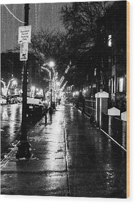 Wood Print featuring the photograph City Walk In The Rain by Mike Ste Marie