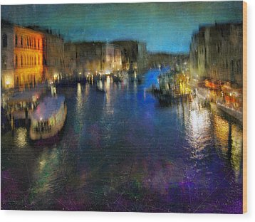 Wood Print featuring the photograph Cityscape #19. Venetian Night by Alfredo Gonzalez