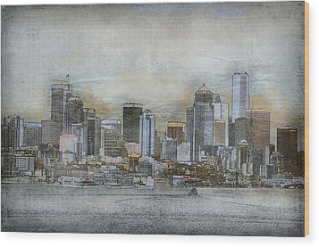 Wood Print featuring the digital art Cityscape by Davina Washington