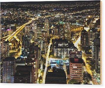 Wood Print featuring the photograph Cityscape Golden Burrard Bridge Mdlxiv by Amyn Nasser