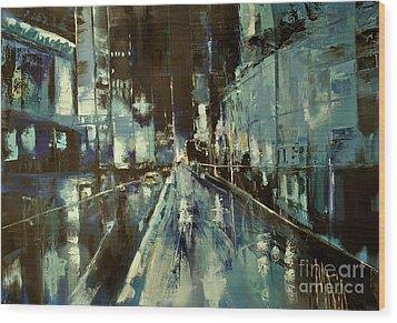 Wood Print featuring the painting Cityscape by Maja Sokolowska