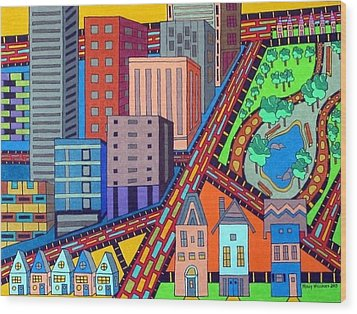 Cityscape Wood Print by Molly Williams