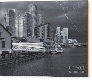 Wood Print featuring the photograph Cityscape Storm by Gina Cormier