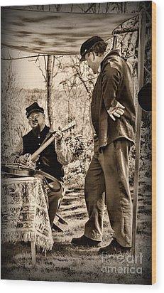 Civil War Banjo Player Wood Print by Paul Ward