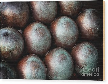 Civil War Cannon Balls Wood Print by John Rizzuto
