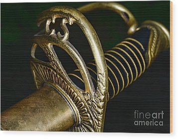 Civil War - Confederate Officer Sword - Weapon Wood Print by Paul Ward