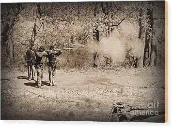 Civil War Soldiers Firing Muskets Wood Print by Paul Ward