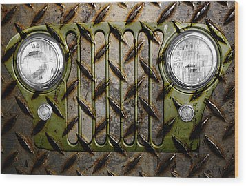 Civilian Jeep- Olive Green Wood Print by Luke Moore