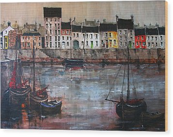 Cladagh Harbour In Galway Wood Print