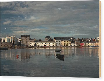 Claddagh  Quays. Wood Print by Peter Skelton