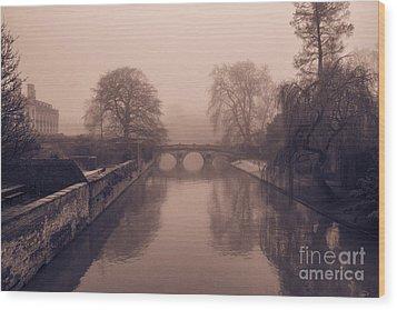 Claire College Bridge Cambridge Wood Print by David Warrington