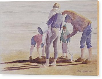 Wood Print featuring the painting Clam Diggers by John  Svenson