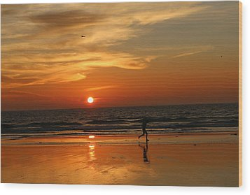 Clam Digging At Sunset - 3 Wood Print by Christy Pooschke