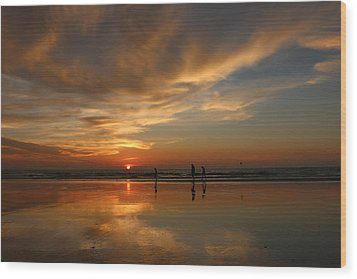 Clam Digging At Sunset -1  Wood Print by Christy Pooschke
