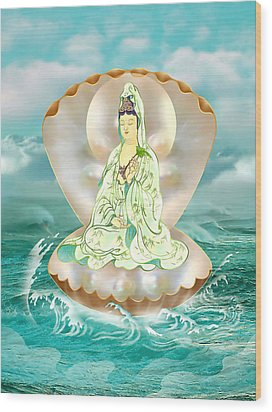 Wood Print featuring the photograph Clam-sitting Kuan Yin by Lanjee Chee