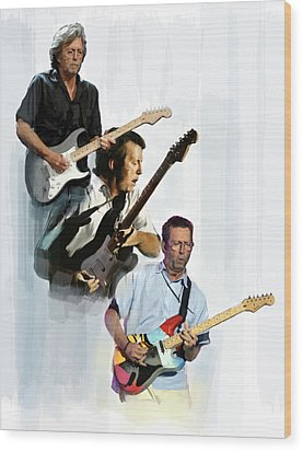 Clapton Eric Clapton Wood Print by Iconic Images Art Gallery David Pucciarelli