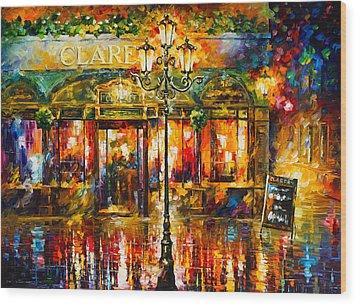 Clarens Misty Cafe Wood Print by Leonid Afremov