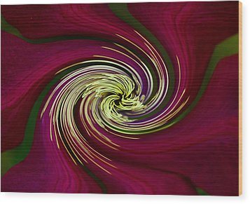 Wood Print featuring the photograph Claret Red Swirl Clematis by Debbie Oppermann