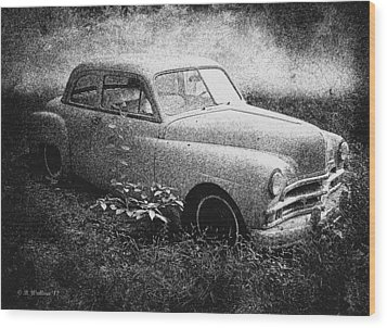 Clasic Car - Pen And Ink Effect Wood Print by Brian Wallace