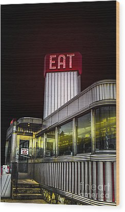 Classic American Diner At Night Wood Print by Diane Diederich