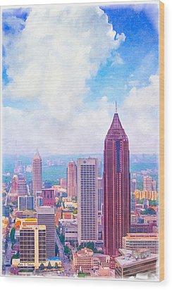 Classic Atlanta Midtown Skyline Wood Print