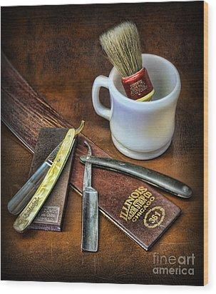 Wood Print featuring the photograph Classic Barber Shop Shave - Barber Shop by Lee Dos Santos