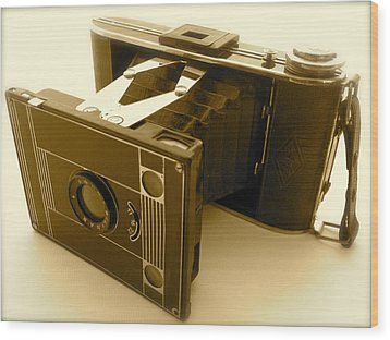 Classic Bellows Folding Camera Wood Print by John Colley