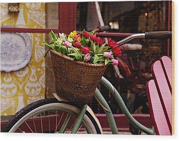 Classic Bike With Tulips Wood Print
